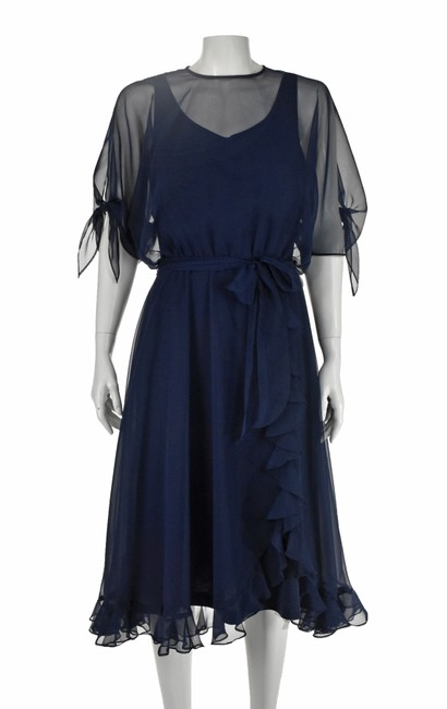 Item - Navy Blue Chiffon Ruffled Party Mid-length Night Out Dress Size 8 (M)