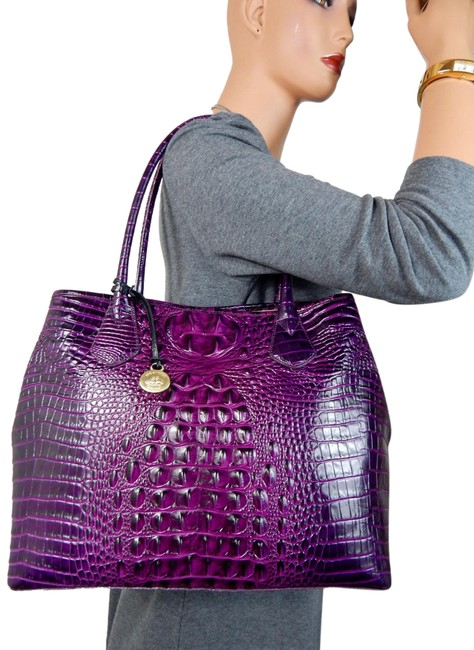 Item - Sold Out Sought After Dark Iris Anytime Large Melbourne Purple Leather Tote