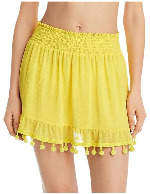 Item - Yellow Stevie Pom Pom Skirt/Cover Up Small Cover-up/Sarong Size 4 (S)
