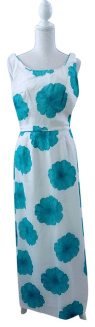 Item - Blue White Floral Print Mid-length Casual Maxi Dress Size 10 (M)