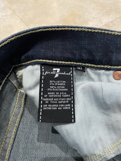 7 For All Mankind Blue Distressed Boot Cut Jeans Size 30 (6, M) 7 For All Mankind Blue Distressed Boot Cut Jeans Size 30 (6, M) Image 2