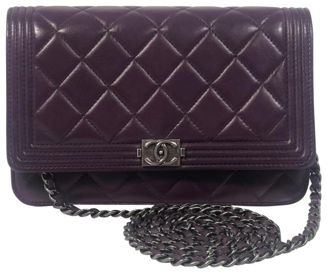 Item - Classic Flap Quilted Purple Leather Cross Body Bag