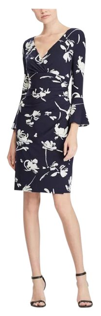 Item - Navy White Floral-print Bell-sleeve Mid-length Cocktail Dress Size 2 (XS)
