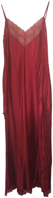 Item - Red Silk Nightgown with Lace Detail