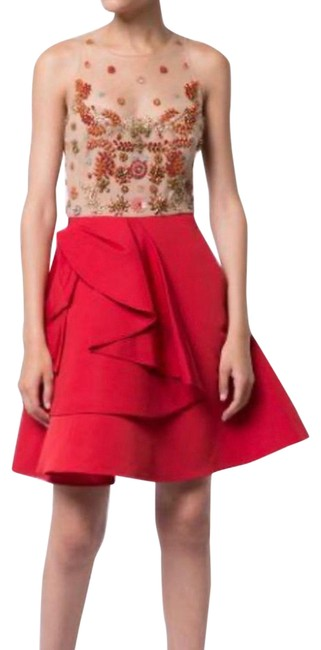 Item - Nude and Red Embellished Faille Mid-length Cocktail Dress Size 6 (S)