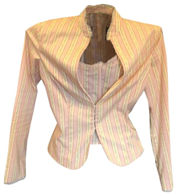 Item - Pink/Ivory Bustier and Matching Jacket. Blazer Size 6 (S)
