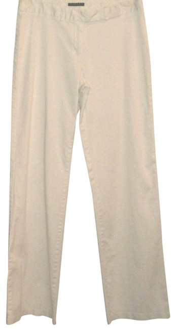 Item - White W/ Gray Pinstripes Italy W/ Lining Flat Front Pants Size 12 (L, 32, 33)