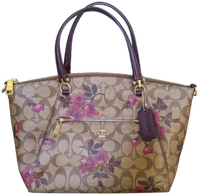 Item - Prairie In Signature with Victorian Floral Print Khaki and Berry Leather Canvas Satchel