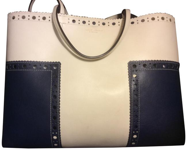 Item - Blue and White Leather Tote