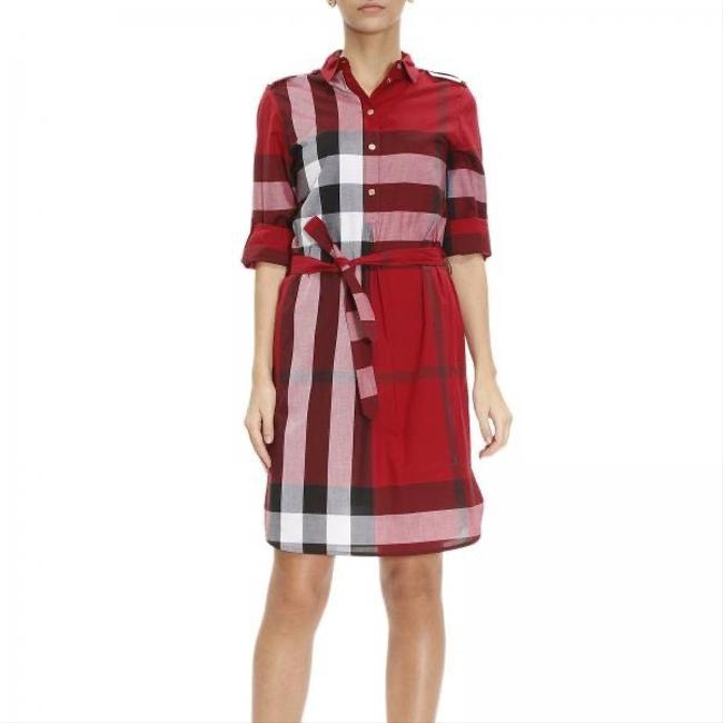 Item - Red Check Pattern Cotton Mid-length Work/Office Dress Size 8 (M)