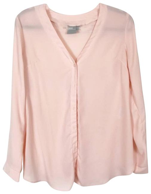 Item - Pink Semi Sheer Button Front In Blouse Size 4 (S)