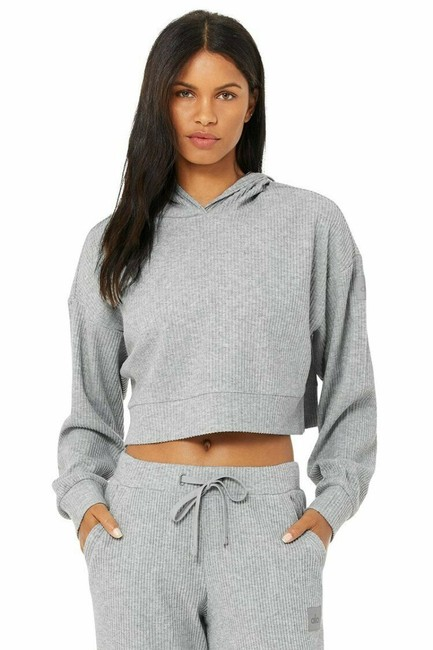Item - Gray Yoga Muse Ribbed Crop Sweatshirt Activewear Outerwear Size 12 (L)