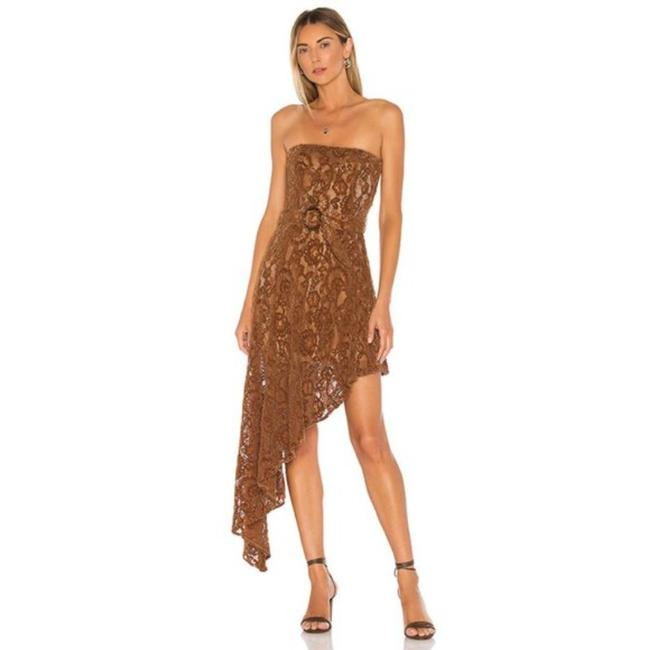 Item - Brown Tan Harling Mid-length Cocktail Dress Size 4 (S)