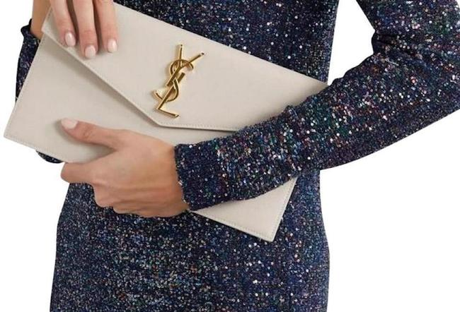 Item - Clutch Ysl Monogram Pouch Off White Leather Tote
