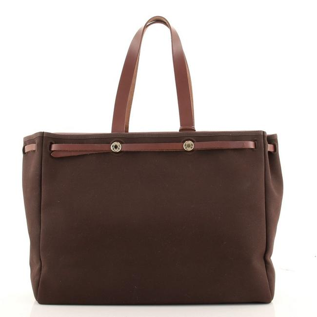 Item - Herbag Cabas Toile and Leather Mm Brown Canvas (Plain) Tote