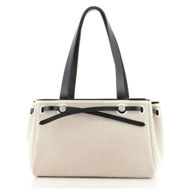 Item - Herbag Cabas Toile and Pm Neutral Canvas (Plain) Leather Tote