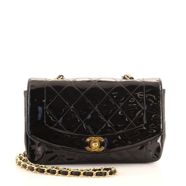Item - Classic Flap Diana Vintage Quilted Small Black Patent Leather Cross Body Bag