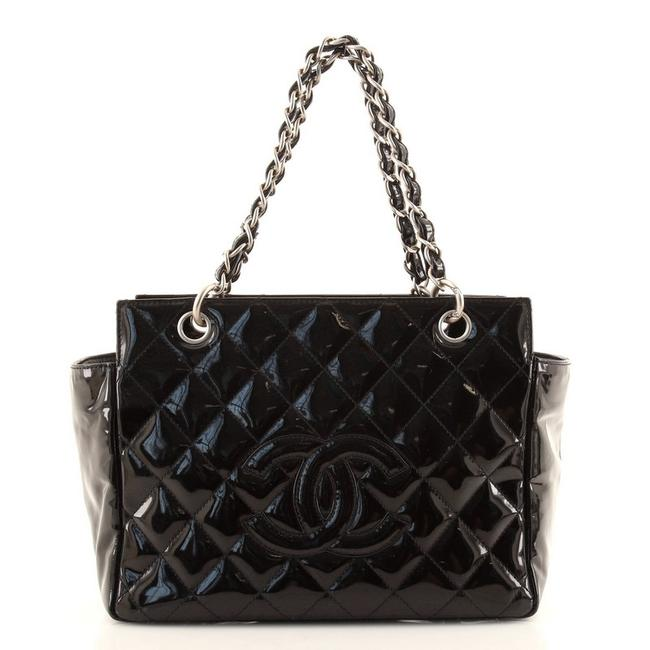 Item - Timeless Vintage Petite Quilted Black Patent Leather Tote