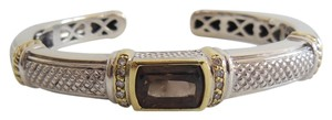 Judith Ripka Judith Ripka Sterling Silver 18K Gold .10tcw Smoky Quartz & Diamond Kick Cuff Bangle Bracelet