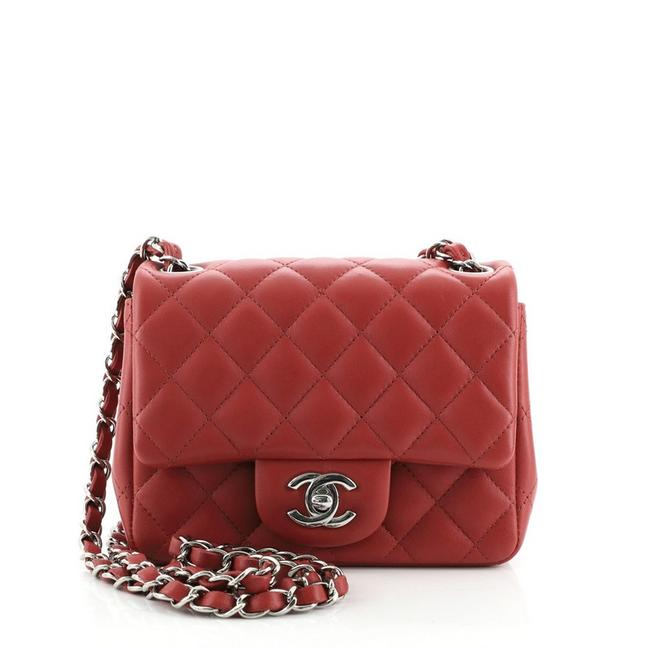 Item - Classic Flap Square Classic Single Quilted Lambskin Mini Red Leather Cross Body Bag