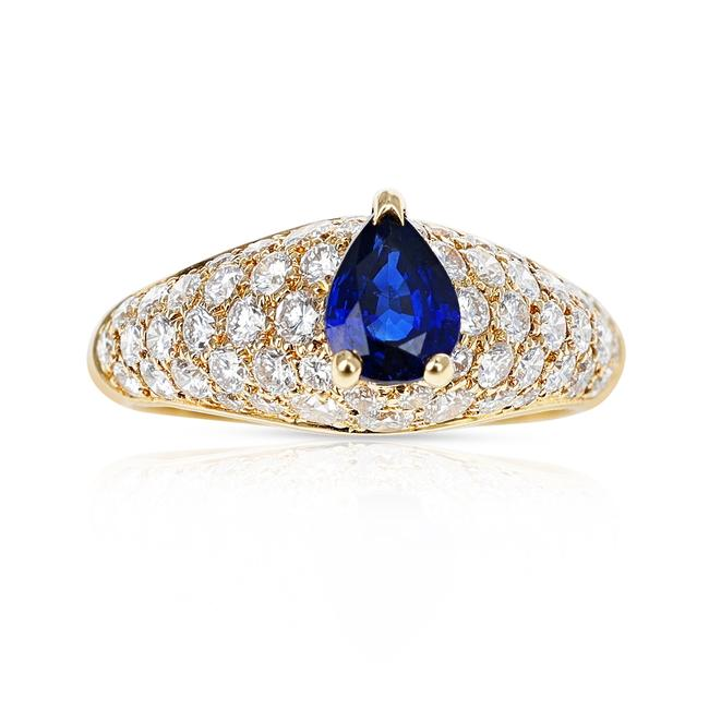 Item - French Pear Shape Blue Sapphire with Diamonds 18k Yellow Ring