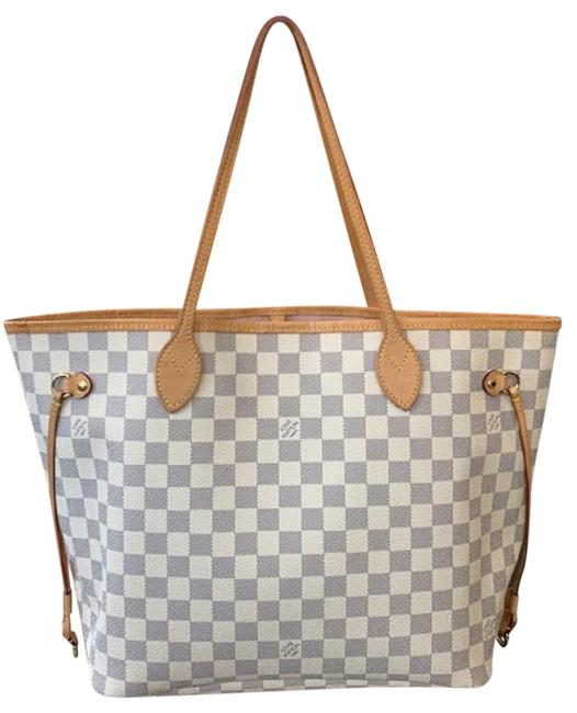 Item - Neverfull Box Good Pre-owned Condition Sold Out Mm Dustbag White Damier Azur Coated Canvas Leather Shoulder Bags Hobos Weekend Travel Bags Tote