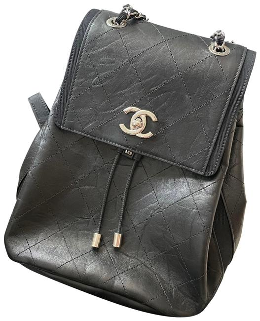 Item - Quilted Timeless Black Silver Leather Backpack