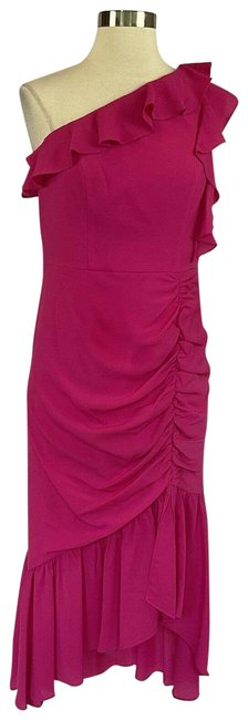 Item - Pink Women's One Shoulder High Low Mid-length Cocktail Dress Size 4 (S)