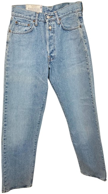 Item - Blue Light Wash High Rise 27x32 Button-fly 15 Oz. Ring Denim Unisex Mom Boy Relaxed Fit Jeans Size 29 (6, M)