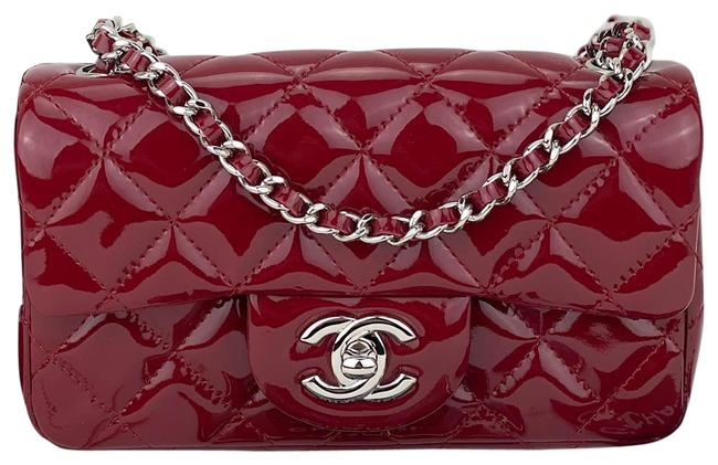 Item - Classic Quilted Mini Flap B384 Burgundy Patent Leather Cross Body Bag