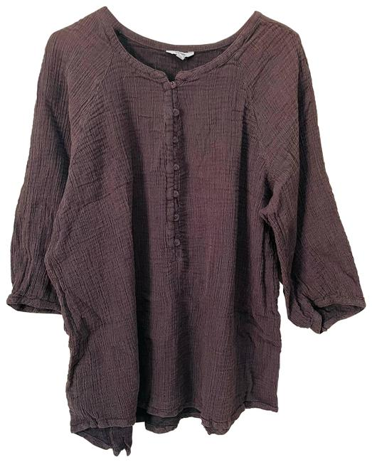 Item - Brown Linen Style 3/4 Sleeve Tunic Size 20 (Plus 1x)