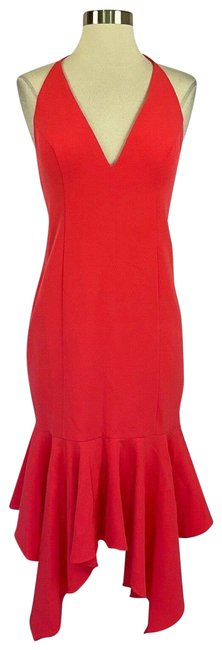 Item - Pink Women's Coral Backless Halter Mid-length Cocktail Dress Size 4 (S)