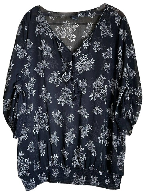 Item - Black Floral Semi Sheer Peasant with Ruffle Blouse Size 26 (Plus 3x)