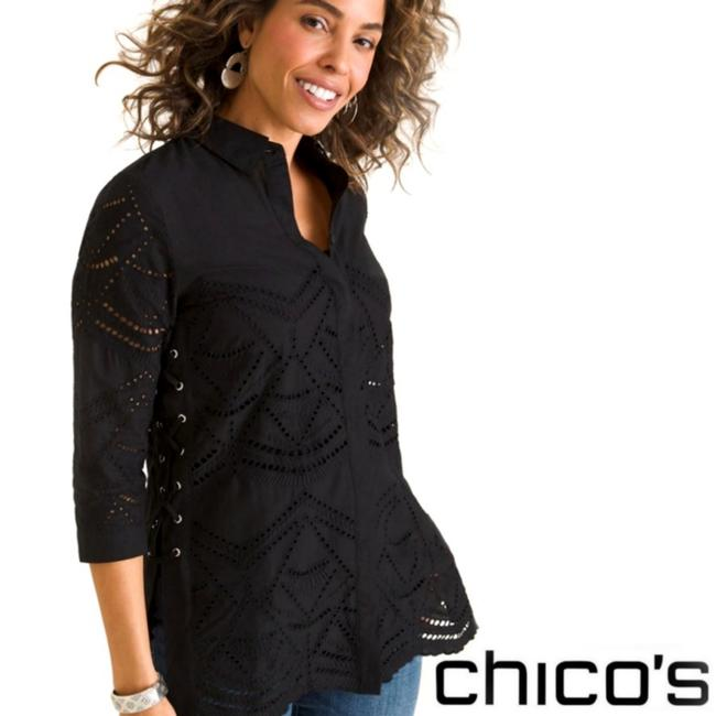 Item - Black Lace-up Eyelet Button-down Top Size 0 (XS)