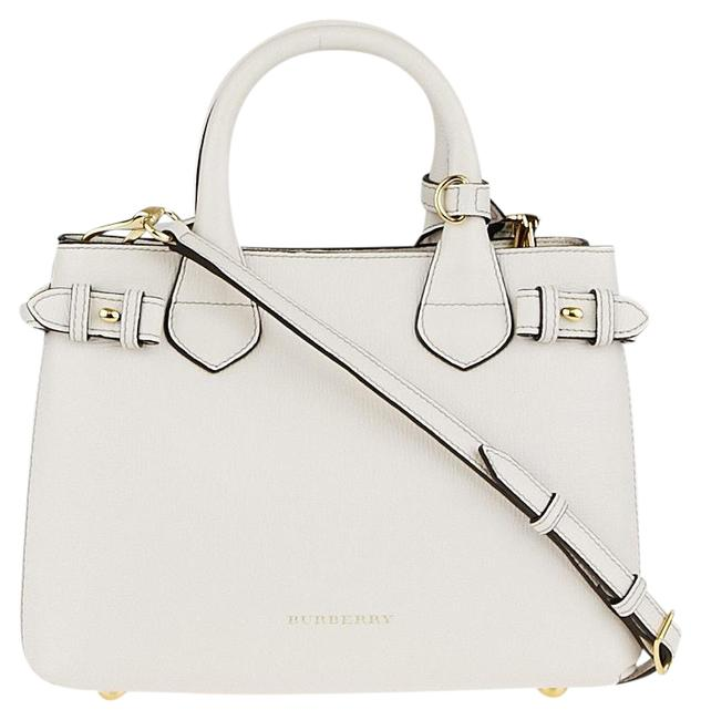 Item - Grainy Calfskin House Check Small Banner White Leather Tote