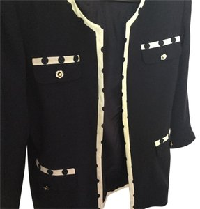 Oimei Travel Flower Buttons Italian Navy Jacket with White Trim & Navy Polka Dots Jacket