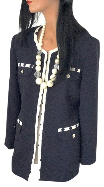 Oimei Travel Flower Buttons Italian Navy Jacket with White Trim & Navy Polka Dots Jacket Image 1