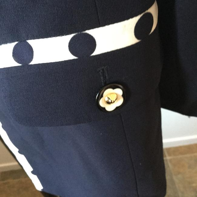 Oimei Travel Flower Buttons Italian Navy Jacket with White Trim & Navy Polka Dots Jacket Image 5