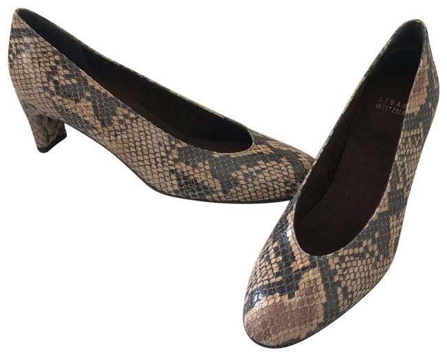 Item - Brown Rounded Toe Snakeskin New Pumps Size US 8 Regular (M, B)