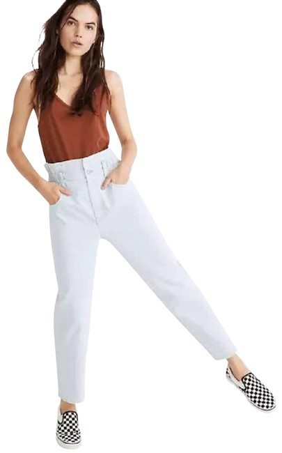Item - Blue Light Wash Paperbag Classic High Waisted Straight Leg Jeans Size 27 (4, S)