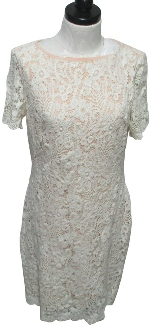 Item - Ivory & Peach Lace Overlay Bodycon Knee Length Mid-length Casual Maxi Dress Size 14 (L)