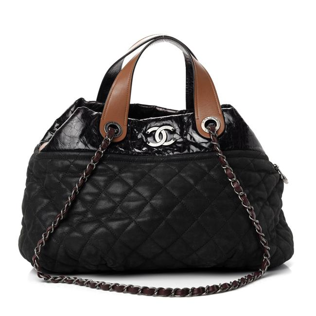 Item - Quilted In The Mix Black Iridescent Calfskin Tote