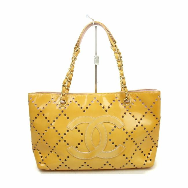 Item - Bag 2003-2004 Perforated Cc Yellow Leather Tote