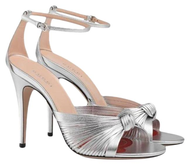Item - Silver Crawford Metallic Leather Ankle Strap Knot It Sandals Size EU 40 (Approx. US 10) Regular (M, B)