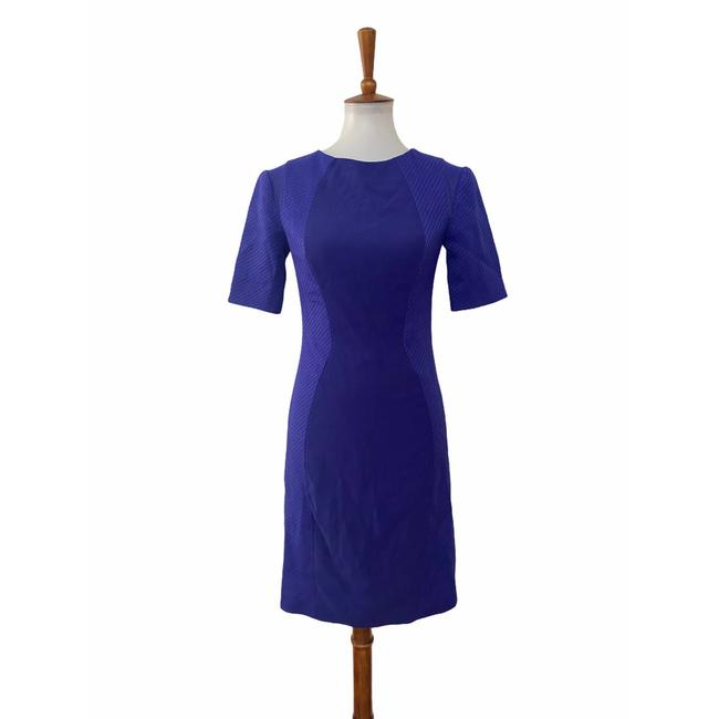 Item - Blue Back Zip Abrial Sheath Short Sleeve Cocktail Dress Size 2 (XS)