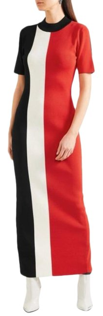 Item - Red Colorblock Stripe Knit Long Casual Maxi Dress Size 6 (S)