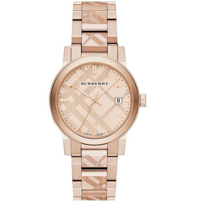 Item - Rose Gold Women Check Stamp Stainless Steel Link Bu9039 Watch