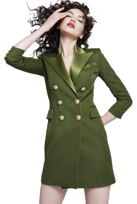 Item - Green Double Breasted Wool Blend Mini Blazer Sz:38 In Short Cocktail Dress Size 8 (M)