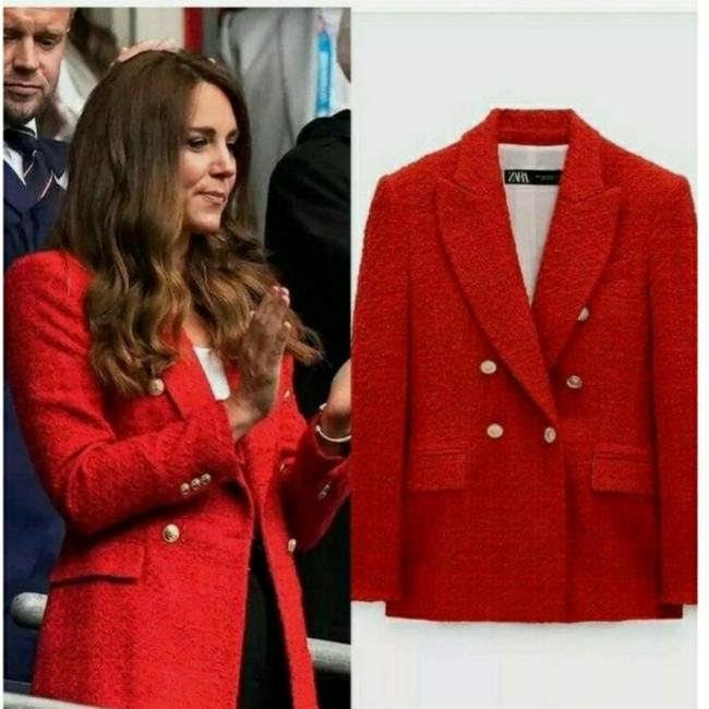 Item - Bright Red Textured Double-breasted Blazer Size 4 (S)