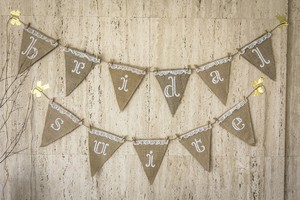 Set Of 2 Wedding Day Pennants: Bridal Suite + Groom's Lair Banner - Burlap Lace Canvas